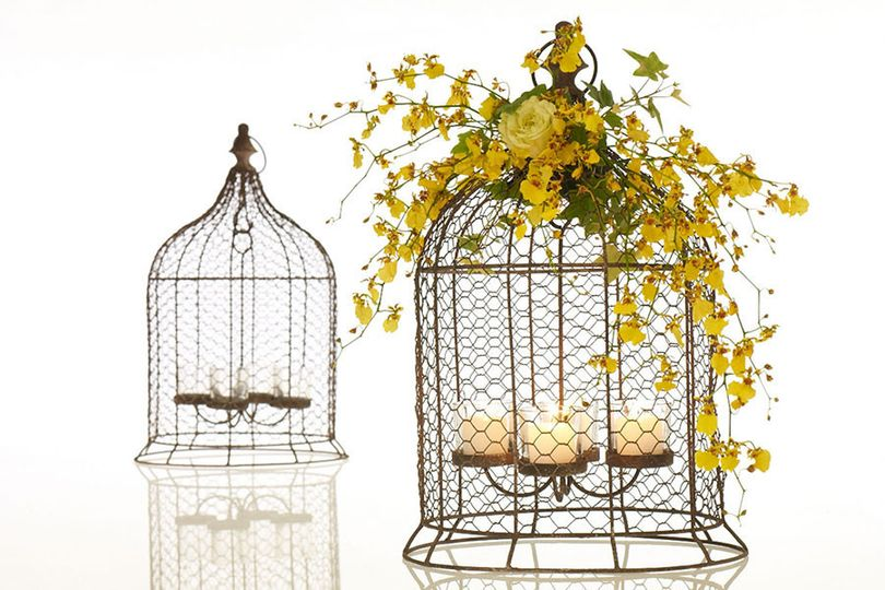 Tea lite bird cages can be hung from oak limbs... or used as center pieces