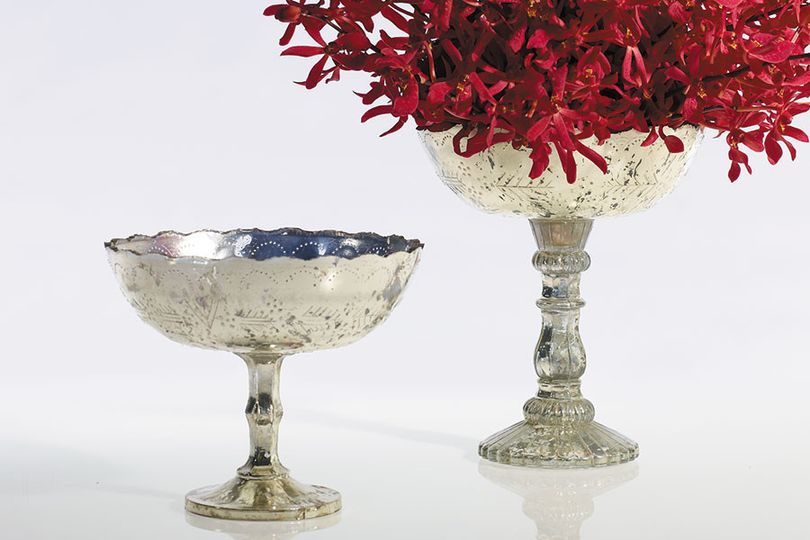 mercury glass compote bowls all shapes and sizes in silver and gold
