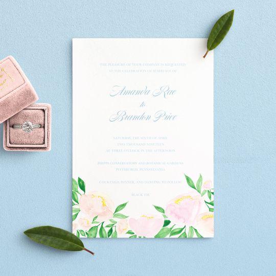 Watercolor floral invitations