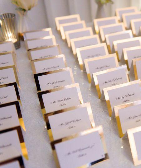 Gold mirror paper escort cards