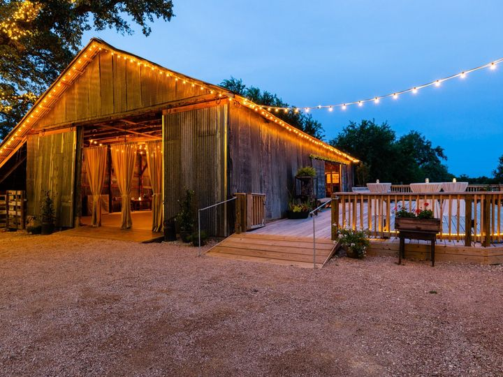 Tmx Barn Deck To Front Twilight 070319 51 1052821 1562208546 San Marcos, TX wedding venue