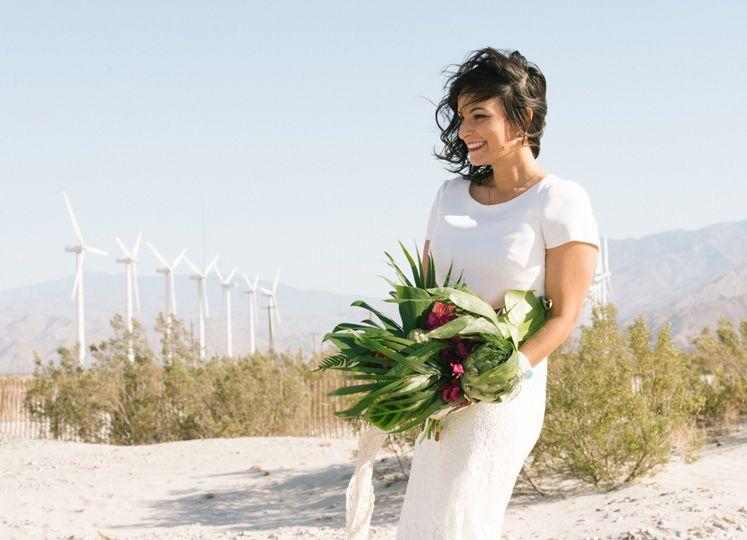 Alexandra & Ian - Palm Springs - bride in the wind