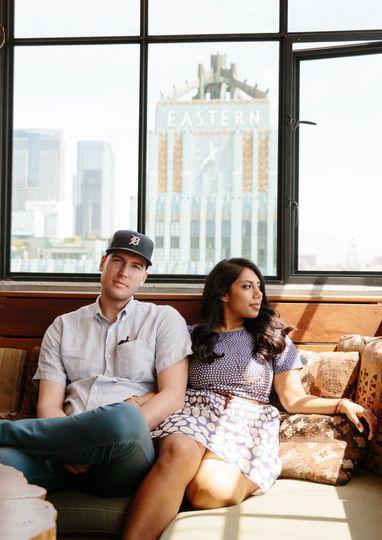 DTLA engagement - couple in love