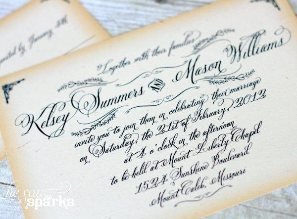 Vintage Calligraphy Invitation