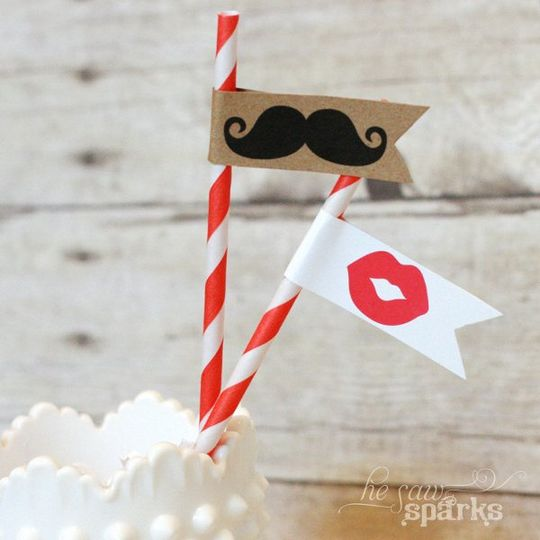 Moustache flag toppers - Great for photo booths too!