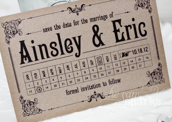 Antique Postcard Save the Date