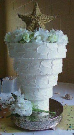 Upside-down beach themed wedding cake