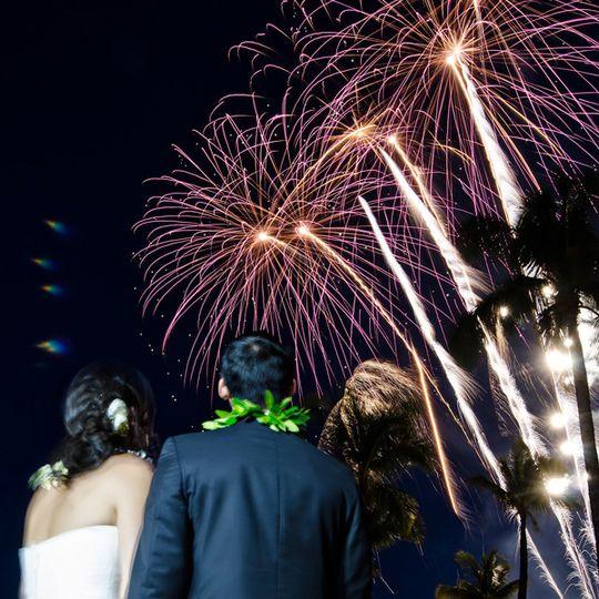 destination weddingshawaii weddingfireworks