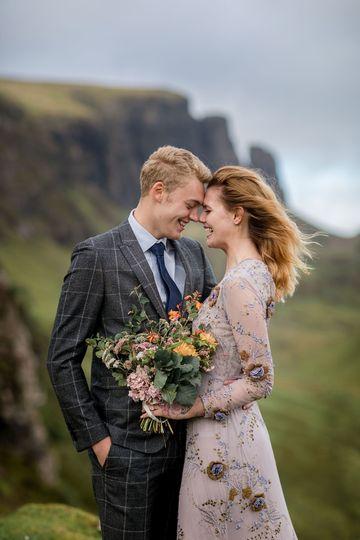 Happy couple Scotland wedding