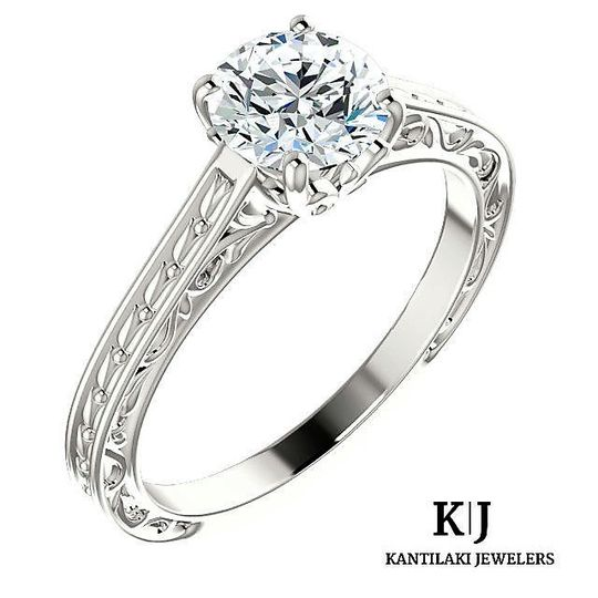 14K Solid White Gold Round Cut Swarovski Engagement Ring