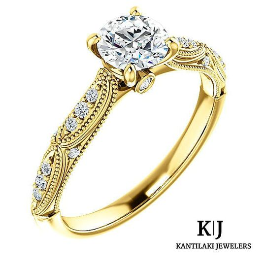 14K Yellow Gold Natural Diamond Engagement Ring