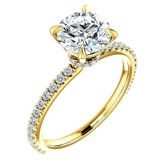 14K Yellow Gold French Set Diamond Engagement Ring