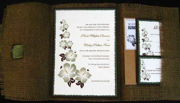 Tmx 1265274117773 INVITATIONWEDDINGBURLAPBOXHIBISCUS11 Los Angeles wedding invitation