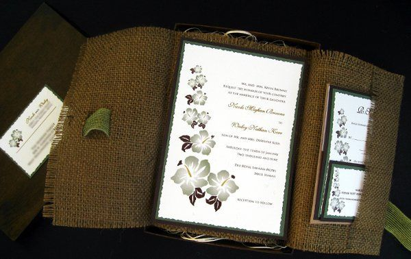 Tmx 1265274147632 INVITATIONWEDDINGBURLAPBOXHIBISCUS12 Los Angeles wedding invitation