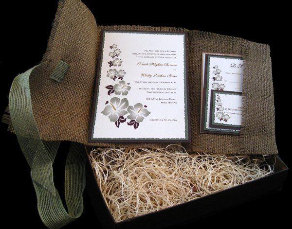 Tmx 1265274175804 INVITATIONWEDDINGBURLAPBOXHIBISCUS12.5 Los Angeles wedding invitation