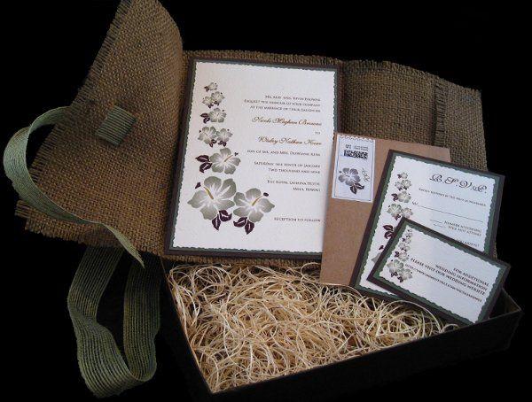 Tmx 1265274200148 INVITATIONWEDDINGBURLAPBOXHIBISCUS13 Los Angeles wedding invitation