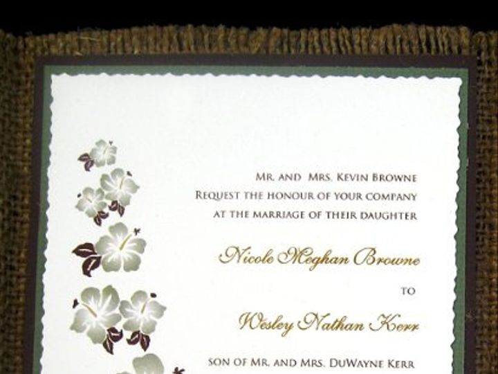 Tmx 1265274211554 INVITATIONWEDDINGBURLAPBOXHIBISCUS15 Los Angeles wedding invitation