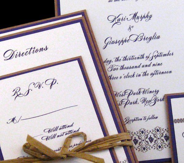 Tmx 1265274659914 INVITATIONWEDDINGGRAPEBORDEREXTRATHICKKRAFT11 Los Angeles wedding invitation