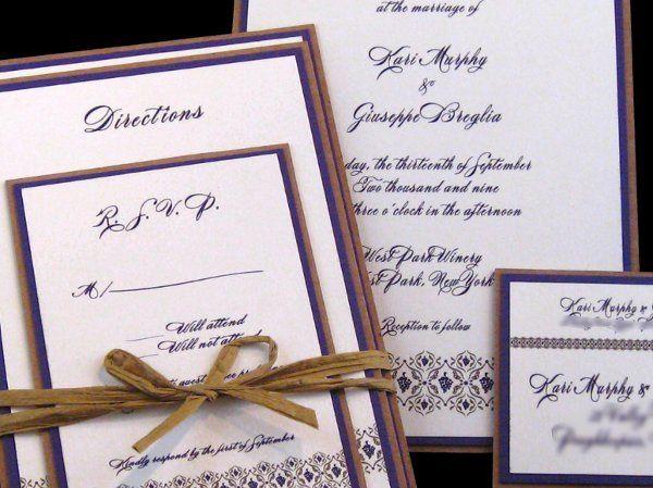 Tmx 1265274700773 INVITATIONWEDDINGGRAPEBORDEREXTRATHICKKRAFT13 Los Angeles wedding invitation