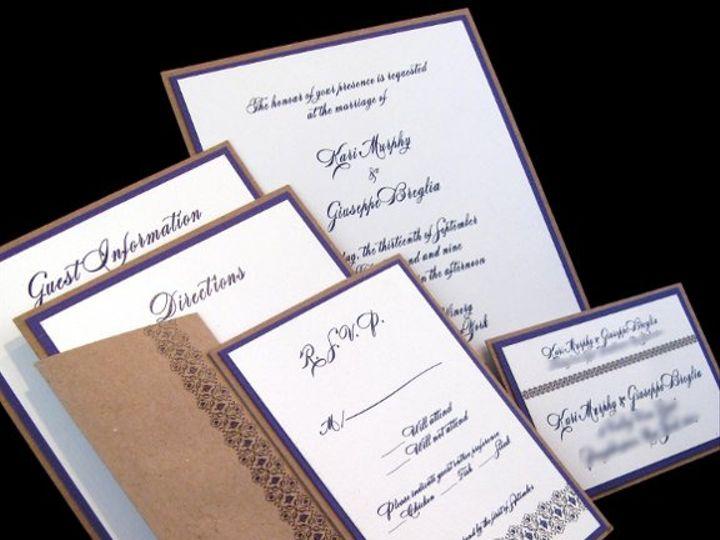 Tmx 1265274760914 INVITATIONWEDDINGGRAPEBORDEREXTRATHICKKRAFT5 Los Angeles wedding invitation