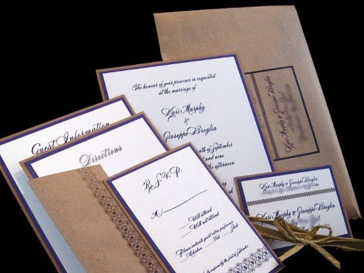 Tmx 1265274822445 INVITATIONWEDDINGGRAPEBORDEREXTRATHICKKRAFT8 Los Angeles wedding invitation