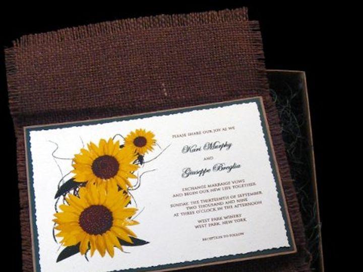 Tmx 1265275420976 INVITATIONWEDDINGSUNFLOWERBURLAPBOX18 Los Angeles wedding invitation