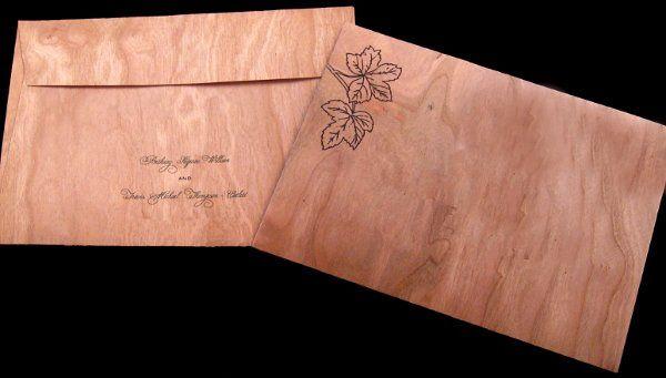 Tmx 1265275642132 INVITATIONWEDDINGWOODLEAF12 Los Angeles wedding invitation