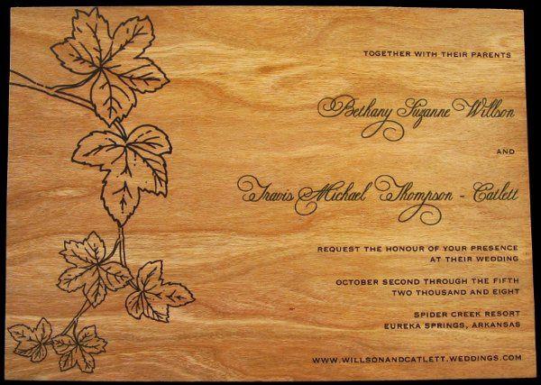 Tmx 1265275771367 INVITATIONWEDDINGWOODLEAF4 Los Angeles wedding invitation
