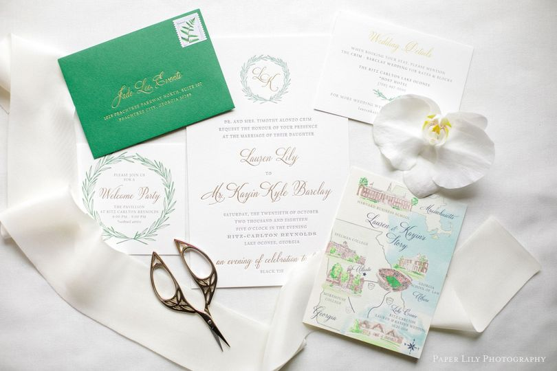green and gold letterpress wedding inviation suite with water color map and green wreath 51 430921 1560263878