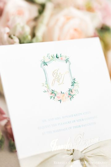 light pink and green floral wedding invitation with gold foil monogram 51 430921 1560873729