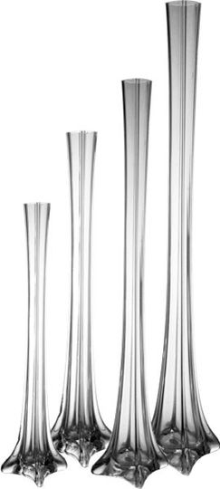 """Eiffel Tower Vases (tall vases) - For Wedding or event decoration. Available in 16"""", 20"""", 24"""", 28"""",..."""