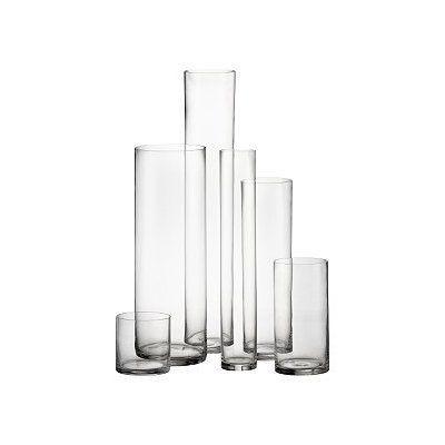 Cylinder Vases: Classic cylinder vases for floral arrangement, wedding centerpieces, and event...