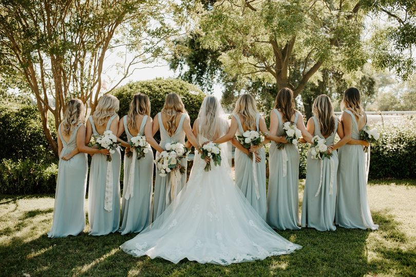 Bridal Party on Bungalow Lawn