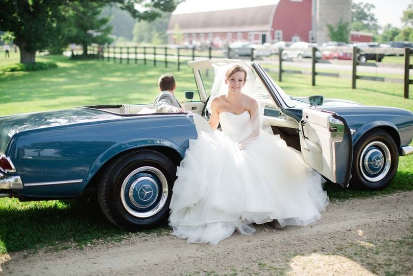 Bride about to exit the car