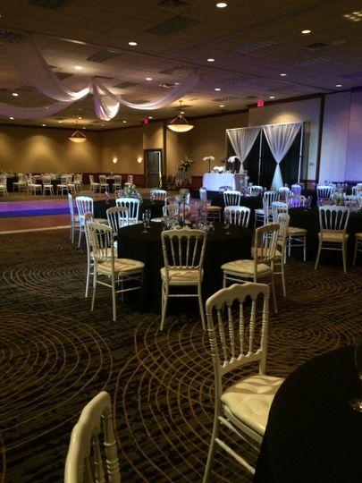 Rustic wedding reception setup
