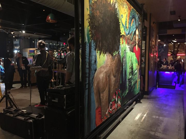 Custom murals adorn the walls