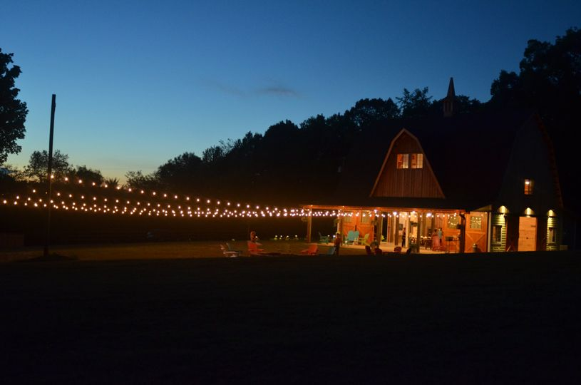 String lights over the lawn