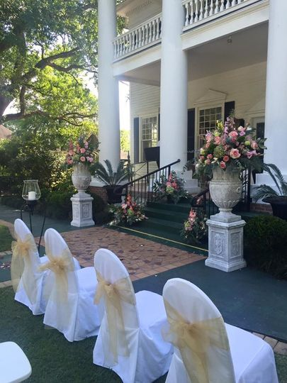 Your florist can provide a range of flowers to decorate the front steps. Chair covers and bows...