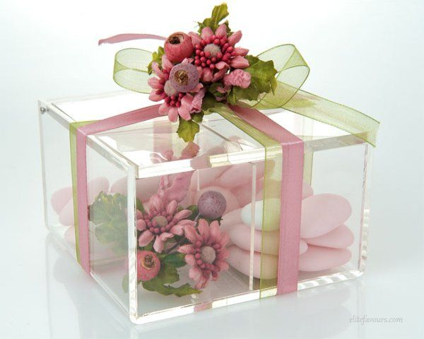 Romantic Box made of high quality Plexiglas, decorative hand made flower composition, organza and...