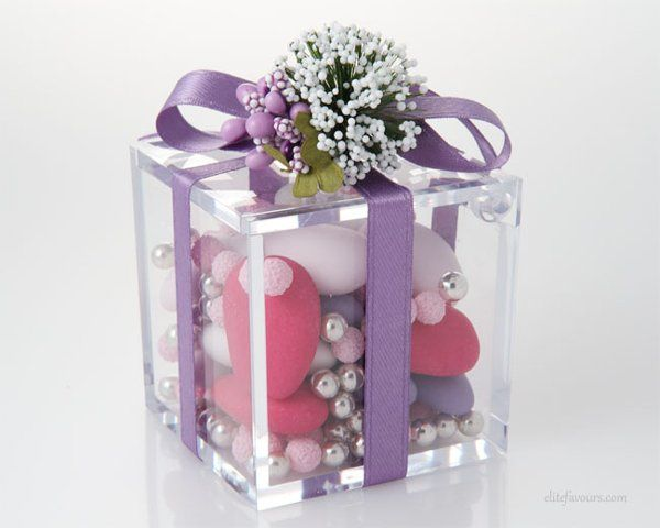 Modern High quality Plexiglas small box with three different varieties of confetti candies, silk...