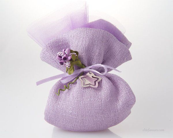Lavender Small raw silk sachet with veil lining, filled with almond confetti candies and soft...
