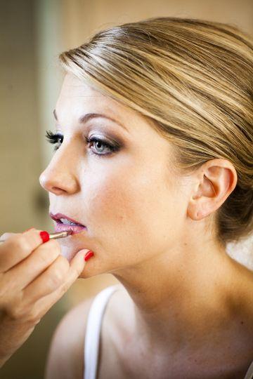 Wearing lipstick