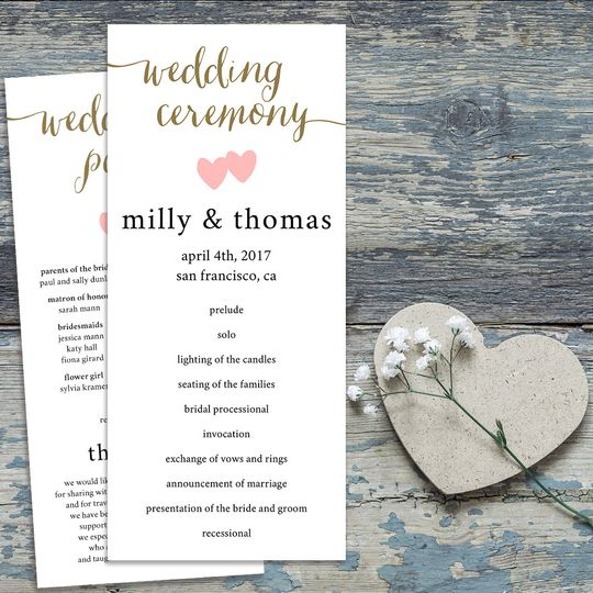 Milly Wedding Program