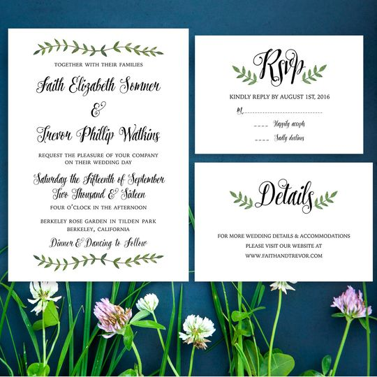 Faith Botanical Wedding Invite