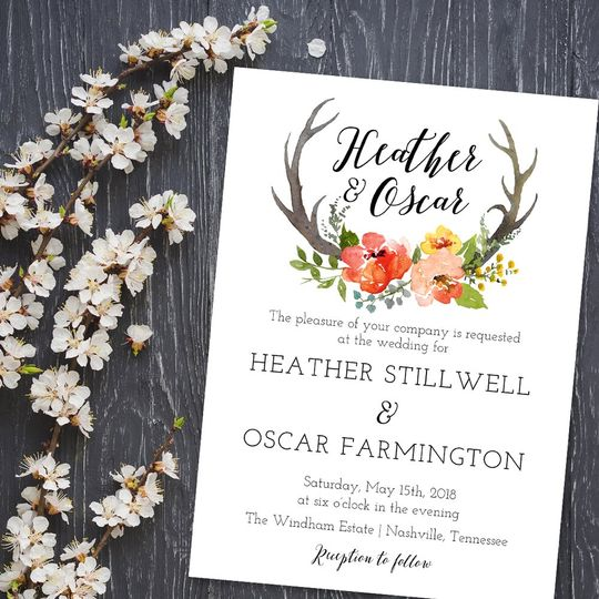 Heather Rustic Wedding Invitat