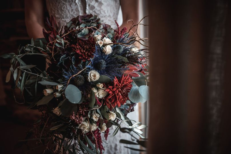 Enchanted barn wedding arrangement