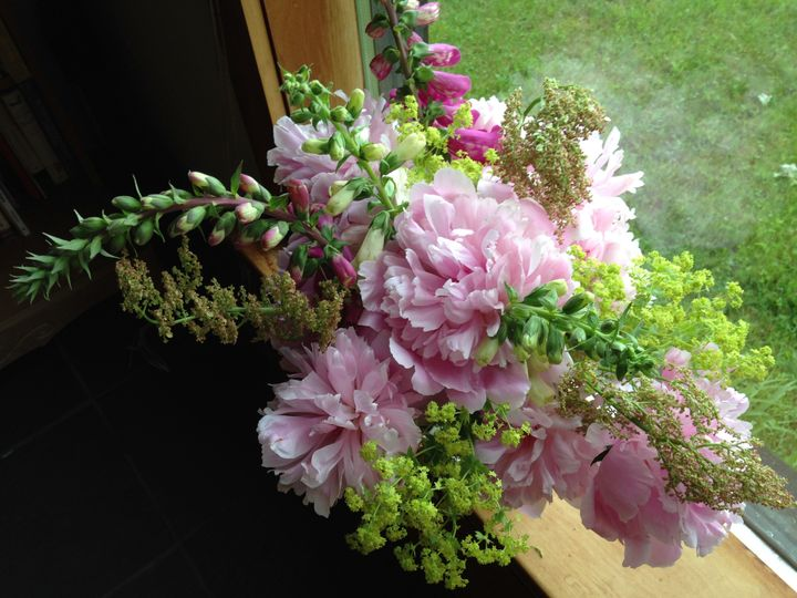 Peonies with lady's mantle