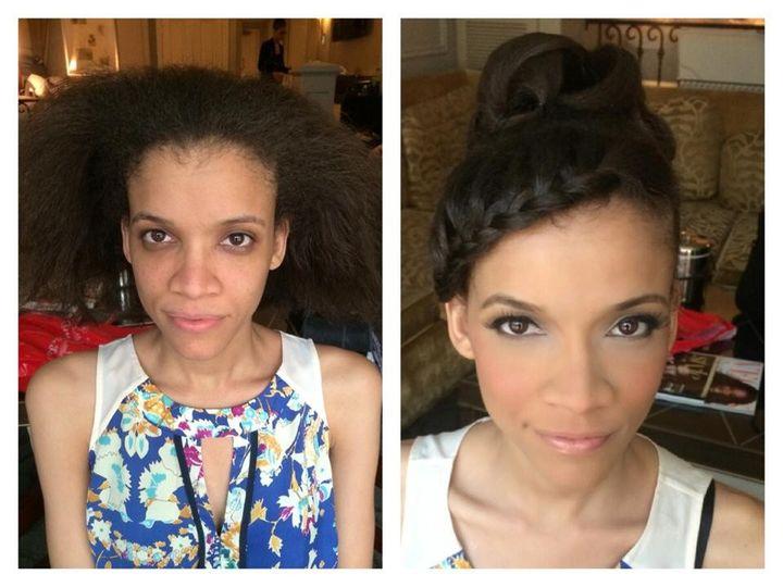 Updo and soft makeup