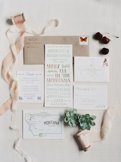 Color letterpress and digital invitation suite with laser cut lines