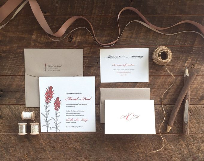 Custom 2-color letterpress and digital invitation suite with duogram folded notes